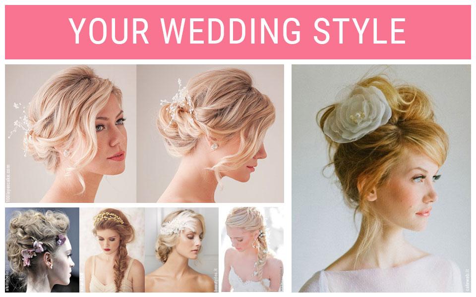 Le acconciature per la sposa del 2015: dallo chignon, ai capelli raccolti morbidi o in alto con un fiore.